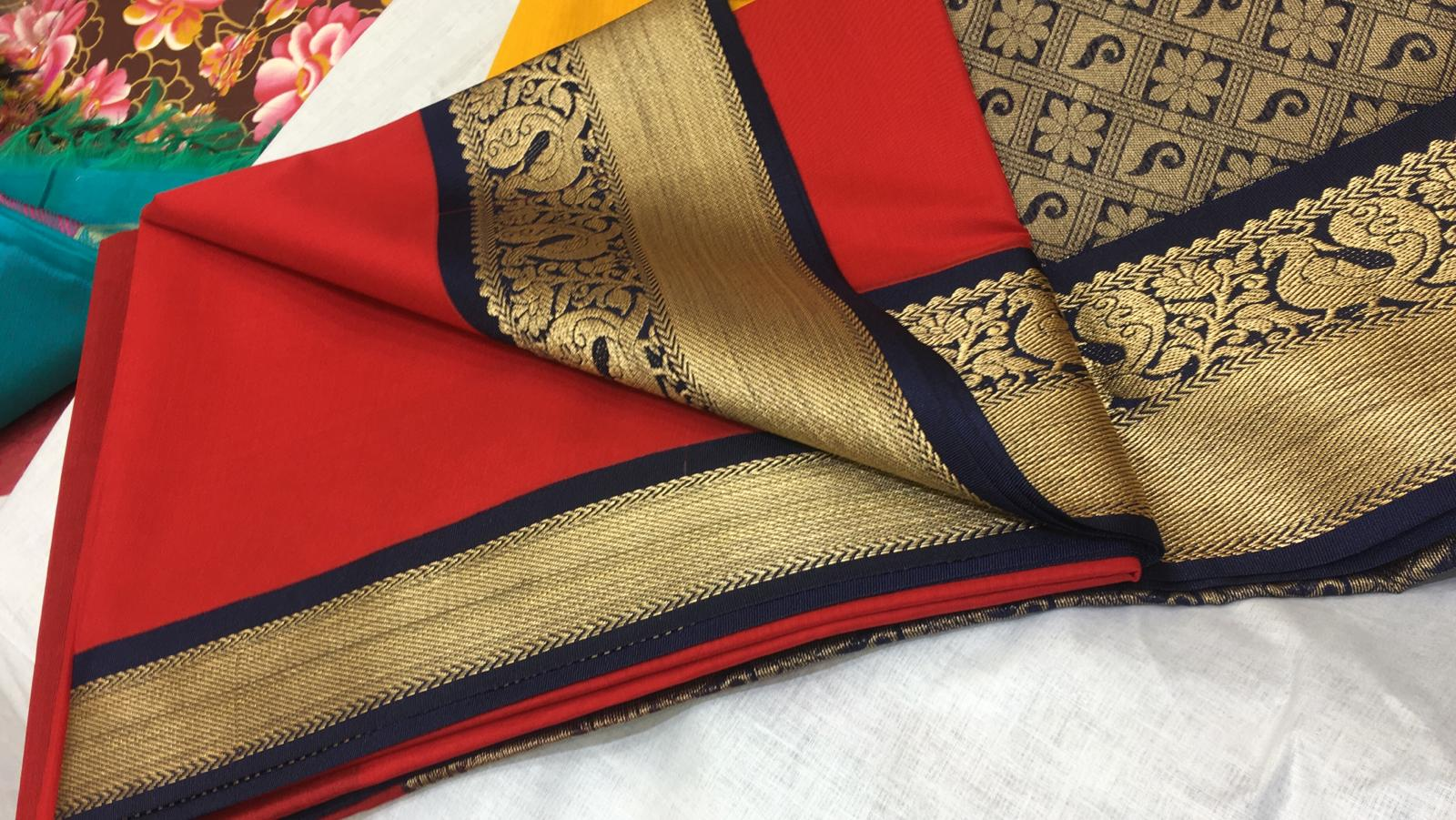 158915 $56.00 RED SOUTH COTTON SAREE