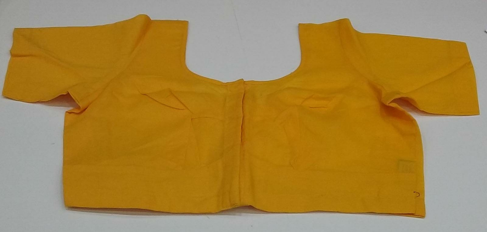 140675 $10.00 Yellow 2×2 Cotton Saree Blouse Size 38