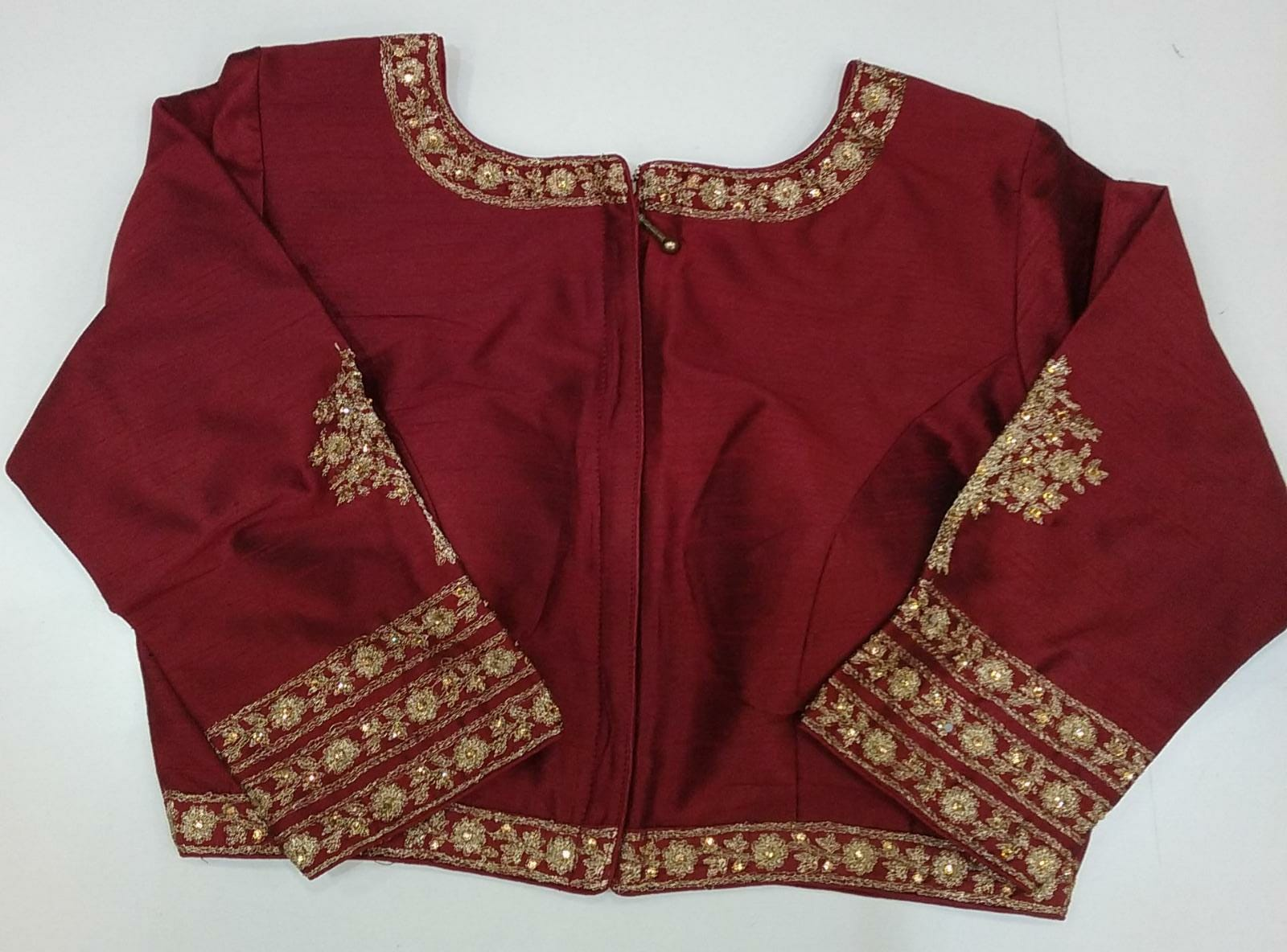 160574 $57.00 MARRON FANCY LONG SLEEVE SAREE BLOUSE SIZE 38